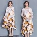 2017 горячие продажа новые весна натурального шелка dress женщины шелкового dress Винтажные принты свободные большие качели vestidos robe femme халат longue