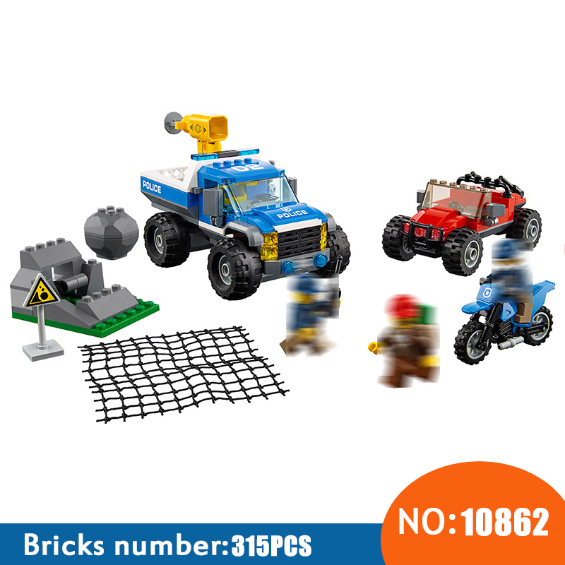 NEW 10862 City Police Series Dirt Road Pursuit Building Blocks KIDS DIY Bricks Toys For Children Compatible With 60172