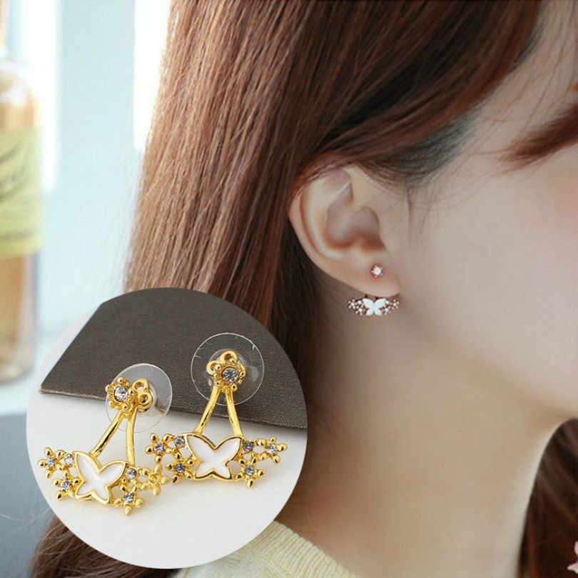 2018 New Fashion Jewelry Pearl Flower Multi-earrings Women's Elegant Earrings Small And Delicate Bows Hanging Earrings