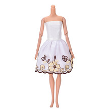 cdaf3502a4 New Fashion Tube top White Flower Beautiful Handmade Party Clothes Dress  for Doll Doll Wholesale Mini 102