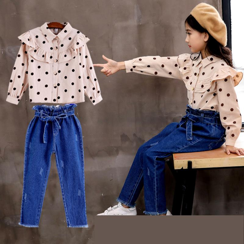 2018 Girls Clothing Sets Autumn Girls Suit Teenage Girls Clothes School Children Clothing Set Blouses Shirts + Denim Pants 10 12 цена