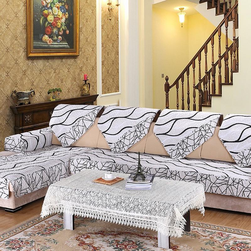 Gambar Sofa Ruang Tamu Hello Kitty  us 10 42 11 off 1 pc eropa striped quilted kain sofa selimut sofa penutup sandaran tangan sarung putih sectional kursi meliputi handuk untuk rumah s