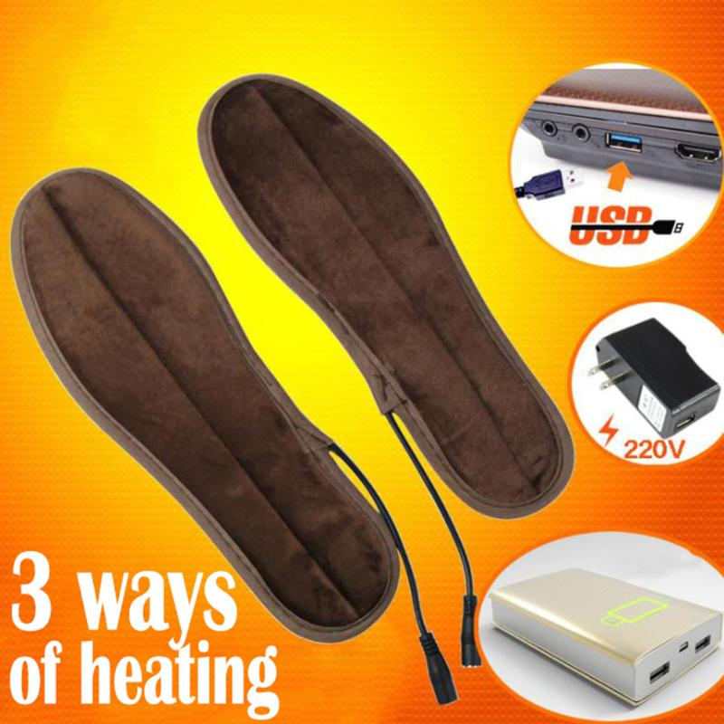 USB Electric Heated Insoles Soles Winter Plush Fur Heating for Men Women Shoes Boots Keep Feet Warm and Comfortable new rechargeable heating insoles heated sole winter thick insole wool warm with fur keep warm feet for women and men shoes