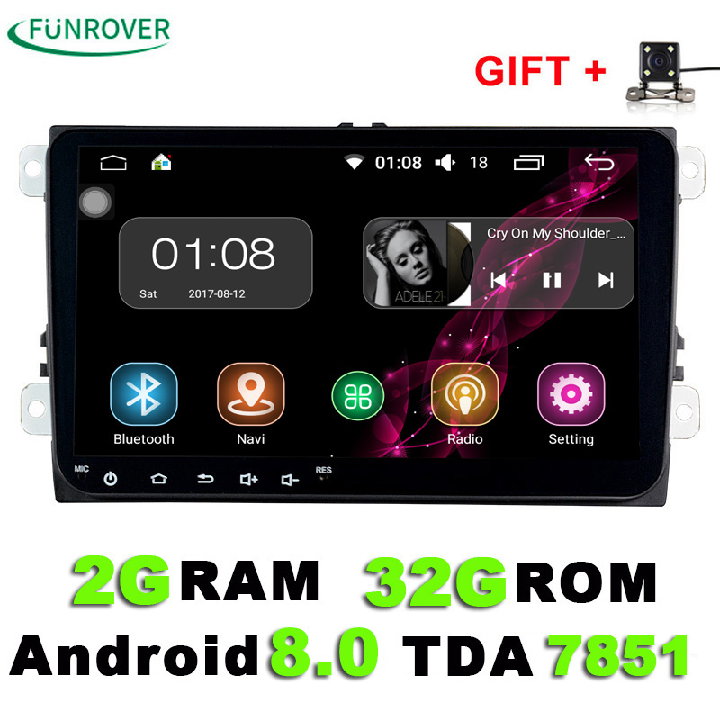 9 inch Android 8.0 Car DVD Player 2din Radio  Gps Stereo Multimedia PC 2G+32G in dash for vw Skoda tiguan passat cc golf touran in dash 1 one din 7 inch car dvd gps player radio bluetooth gps navigation rds usb universal auto stereo 800 480 high quality