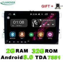 9 дюймов Android 8,0 dvd-плеер автомобиля для vw passat b5 b6 Гольф 5 6 Поло tiguan 2 din радио gps стерео Мультимедиа ПК 2 г + 32 г в тире