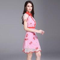 2018 Short Sleeves Defined Waist Pink Daisies Embroidered Cheongsam Dress
