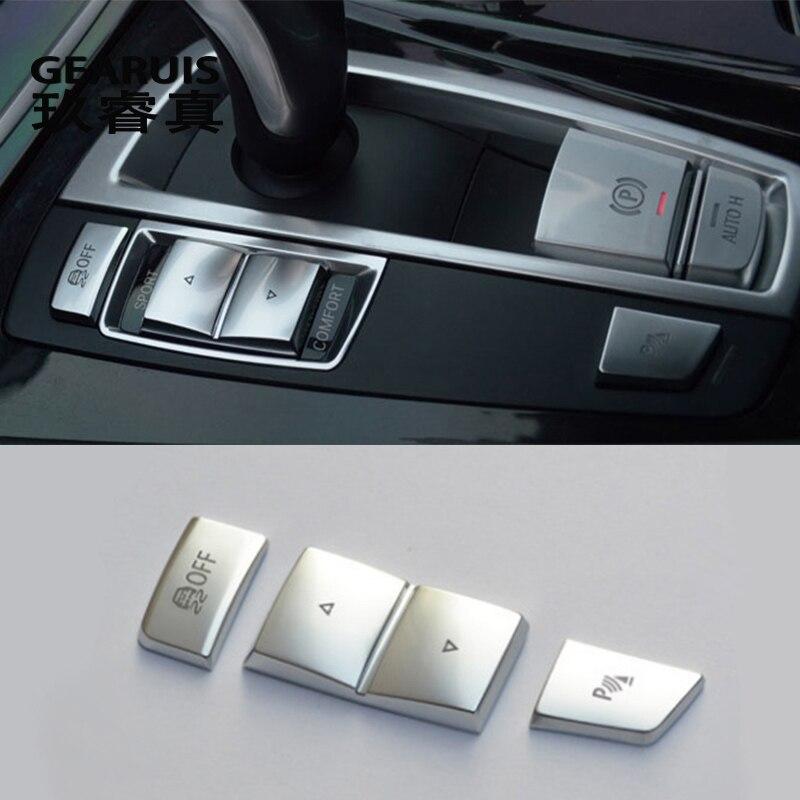 Estilo do carro Central Auto H Botão Do Travão de mão Esquerda lado Decorativo capa Guarnição para BMW 5/6/7 series f10 F07 GT auto acessórios