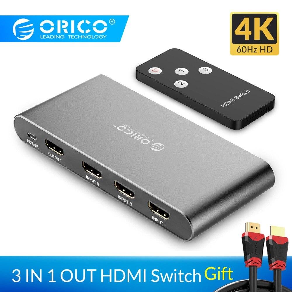 ORICO HDMI Switch Splitter 4 K 60Hz HDMI2.0 Switcher 3 Eingang 1 Ausgang HDMI Splitter für PC Laptop XBOX 360 PS3 PS4 TV Projektor