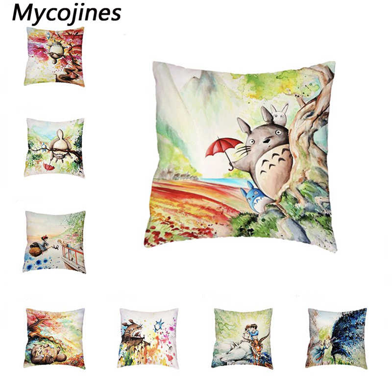 Hayao Miyazaki Totoro Howl do Moving Castle Fronha Capas de almofadas Lance Fronha Home Decor Cadeira Do Sofá Sala de estar Branca