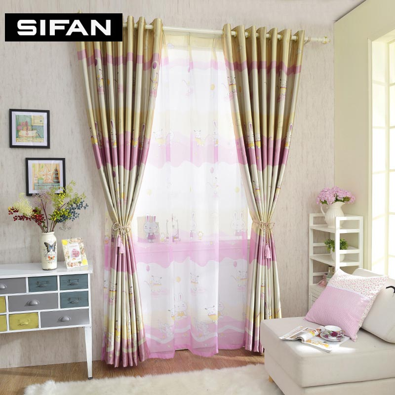 Cartoon Pink Rabbit Printed Blackout Curtains For Children Room Kids Window Curtains For Bedroom