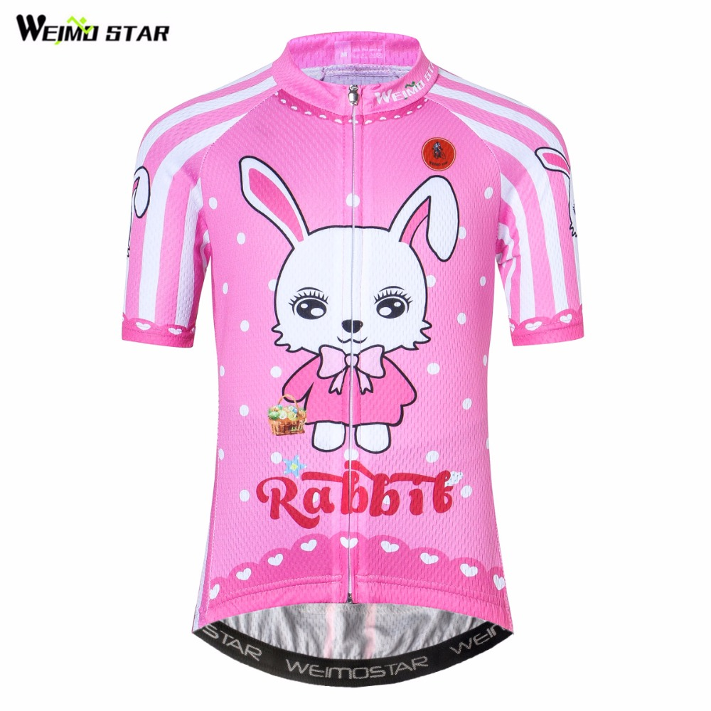 WEIMOSTAR Cycling Jersey Cartoon Sportwear Maillot Mtb Roupa-Ciclismo Pink Children Summer
