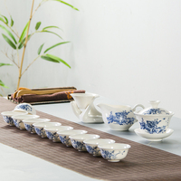 Bone China Tea Sets Kung Fu Teaset White Ceramic Tea Cups Porcelain 10 Gaiwan & Tea filter Fair cup B027