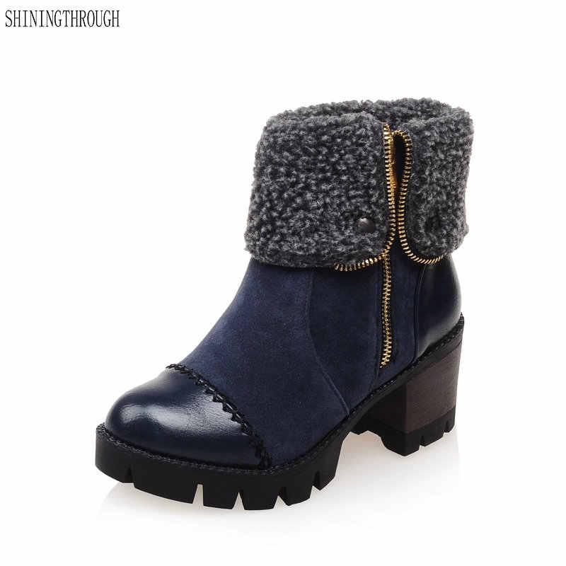 2018 Nieuwe mode enkellaarsjes rits vrouwen laarzen motorfiets schoenen dikke hoge hakken snowboots casual schoenen vrouw
