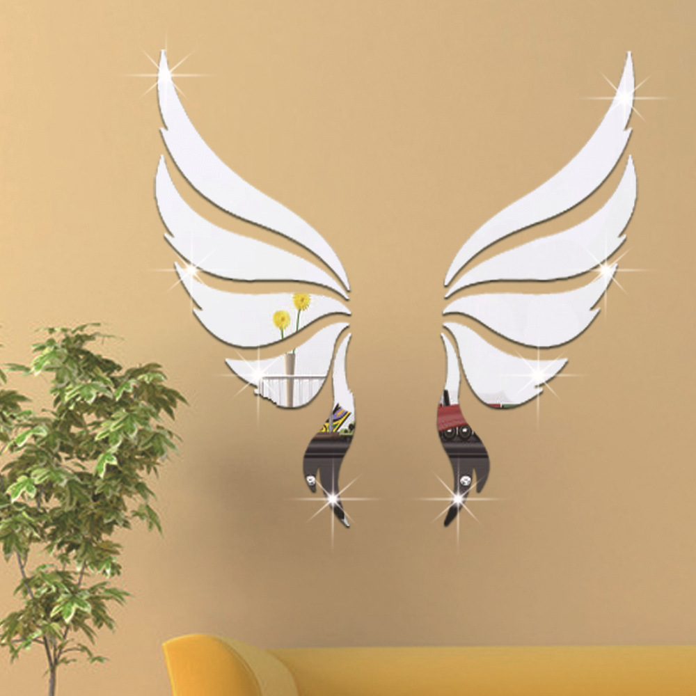 10 Pcs/Set 3D Acrylic Mirror Surface Wall Sticker Angel Wing ...