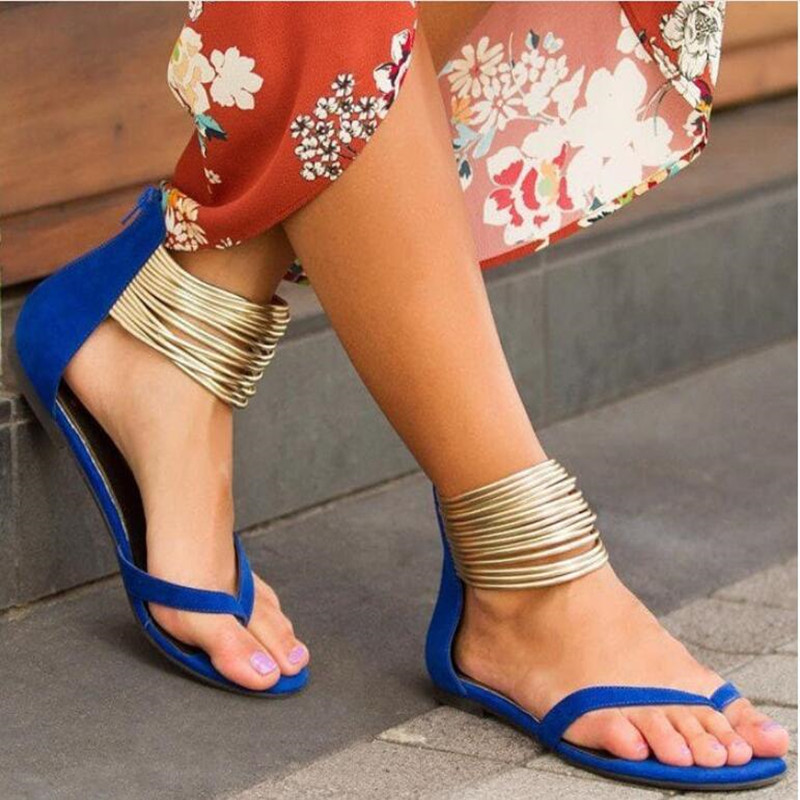 Women 2019 Summer Casual Flat Sandals Plus Size Flip Flops Female Flock Metal Decoration Zipper Ankle Wrap Shoes Leisure shoes