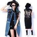 2016 primavera verano nuevo y exclusivo de largo con flecos costura impresión bordado chaleco de mezclilla femenina abrigo chaqueta de un solo pecho de las mujeres