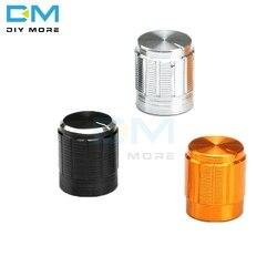 5 uds WH148 tapa con botón para potenciómetro 6mm eje de aleación de aluminio moleteado rotativos, con Control de volumen perillas de codificadora 14x16mm negro plata oro