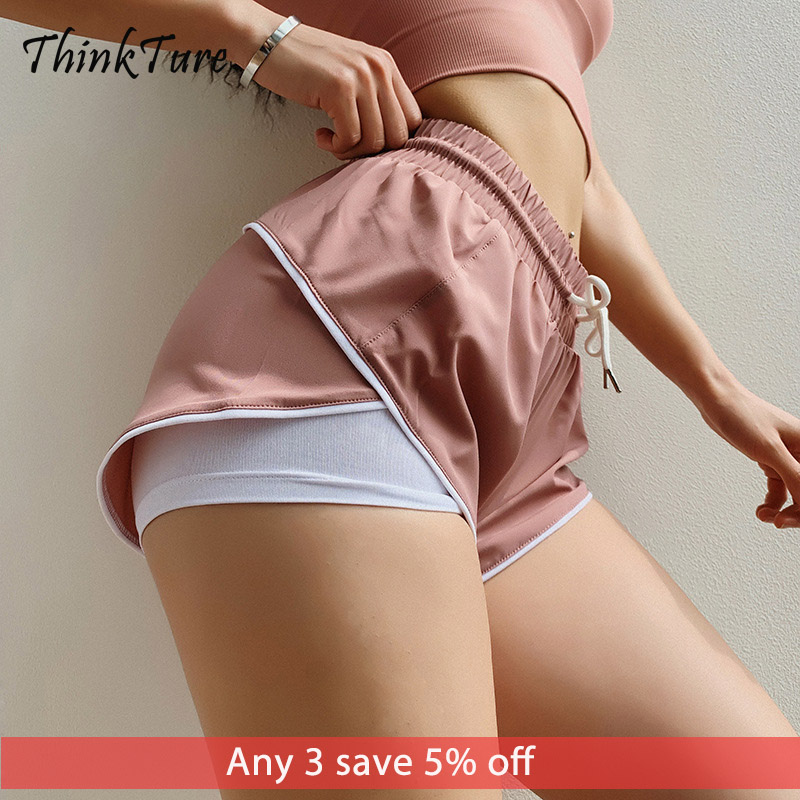 Solid 2 In 1 Running Shorts Women Summer Letter Quick Dry Female Sports Shorts Loose Workout Fitness Yoga Training Gym Shorts