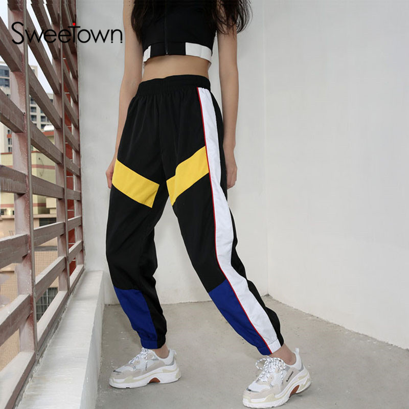 Sweetown Woman Pencil Pants Casual Loose Pantalon Femme Spliced Panelled Joggers Women Woven Elastic High Waist Ladies Trousers