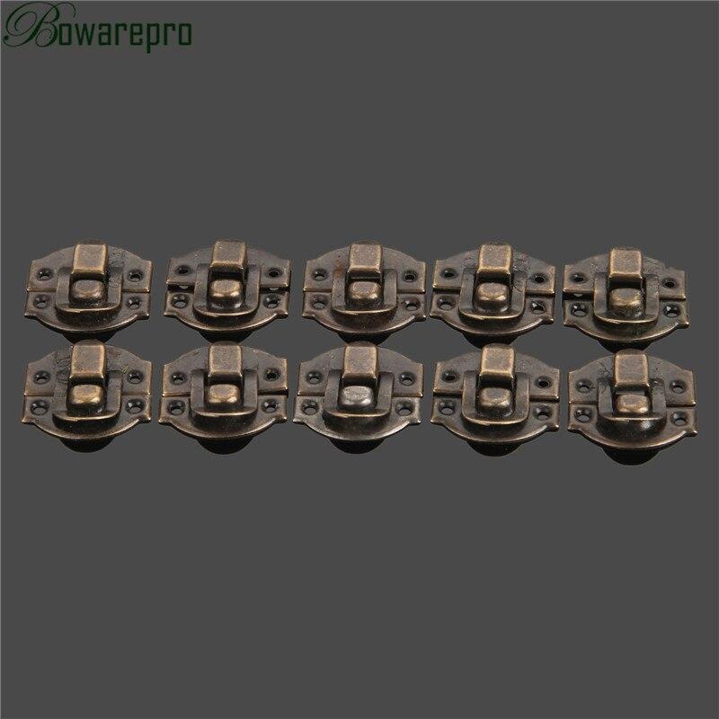 Купить с кэшбэком bowarepro 10Pcs Antique Hasps Iron Lock Catch Latches for Jewelry Chest Box Suitcase Buckle Clip Clasp Vintage Hardware 27*29mm