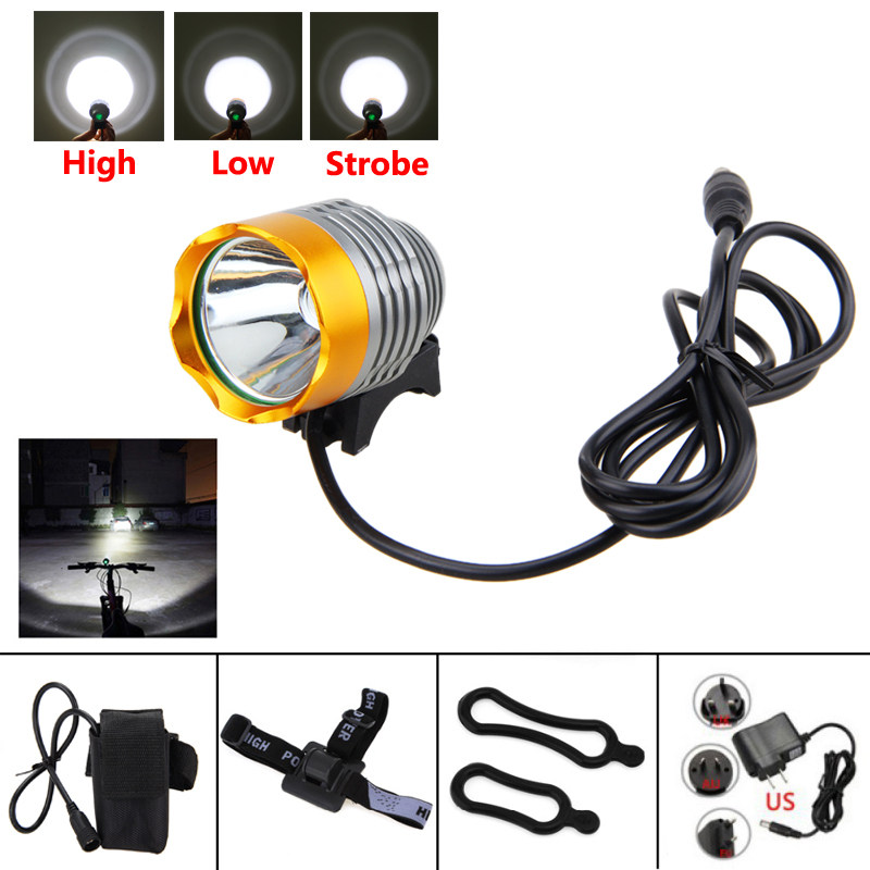 Waterproof 2000 Lumens XM-L U2 LED Light 3 Modes Bicycle Lamp Headlight for Outdoor with 6400mAh Battery Pack+Red Laser Light 3 6v 1200mah pandora battery pack for psp 2000
