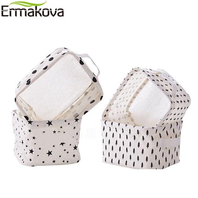 ERMAKOVA Folding Linen Storage Basket Sundries Fabric Storage Bins  Organizer Nursery Makeup Book Baby Toy Cosmetic Bag Basket