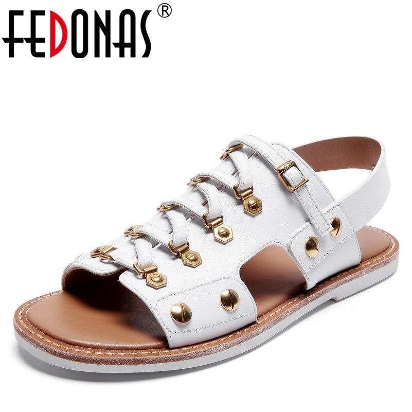 цена на FEDONAS Fashion New Sexy Rivets Punk Genuine Leather Shoes Woman Flats Heels Comfort Casual Shoes Female Buckles Sandals Women