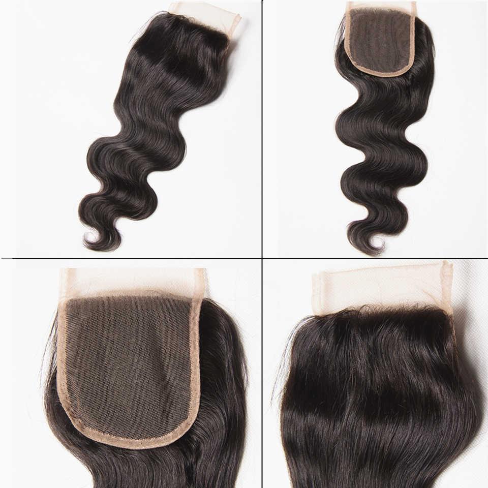 8-38 pulgadas Karizma Body Wave 3 mechones con cierre extensiones de pelo ondulado brasileñas extensiones de cabello humano con cierre no Remy Hair