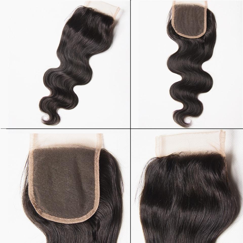 Karizma brasilianska kroppsvåg med stängning 4 st 100% mänskliga - Mänskligt hår (svart) - Foto 3