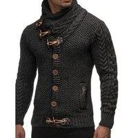 Zimowy Sweter Z Dzianiny mężczyźni slim fit Sweter Z Golfem Rogi klamra Sweatercoat Dzianiny nosić szalik colar sweter kurtka znosić