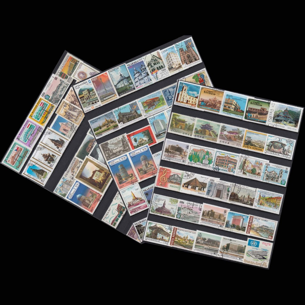 Buildings ,100 PCS/lot No Repeat , All From The World Wide Unused With Post Mark timbres , Postage Stamps Collecting ...