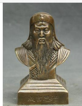 bronze Pure Copper Old Qing Ming Brass 5'' China Copper Outstanding Politician Revolutionist Genghis Khan Bust Statue