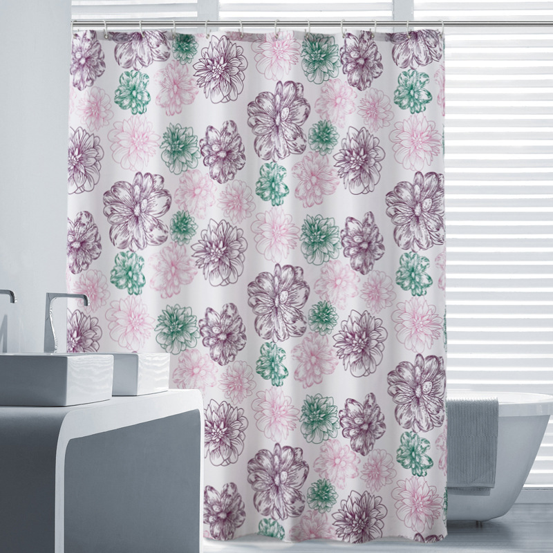 Europe style color printing Shower curtain Polyester PA coating Metal buckle waterproof Bathroom shower curtain 1.8x1.8m size