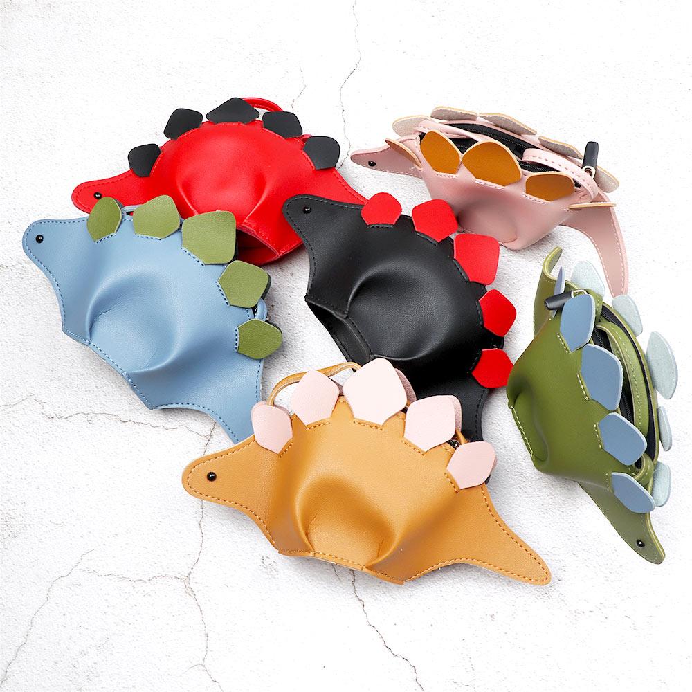 1Pc Children Coin Purse Shoulder Bag Creative Girls Dinosaur Design Fashion Leather Crossbody Mini Bag Princess Simple Handbags