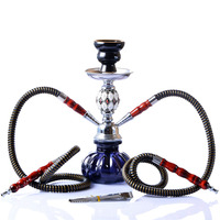 Small Size Portable Shisha Pipe Set Glass Base Hookah with Double Hoses Ceramic Bowl Charcoal Tongs Chicha Narguile Accessories