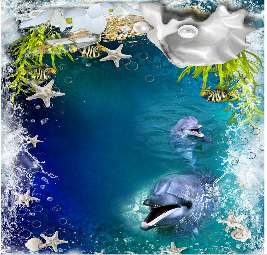 3d floor wallpapers Photo floor wallpaper 3d stereoscopic Ocean Sea Dolphin PVC waterproof floor Home Decoration beibehang modern luxury circle design wallpaper 3d stereoscopic mural wallpapers non woven home decor wallpapers flocking wa