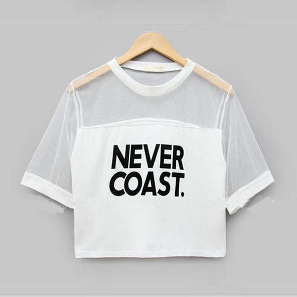 2019 Kadın T-Shirt Kırpma Üst Gömlek Kollu Örgü See-through - Bayan Giyimi - Fotoğraf 6