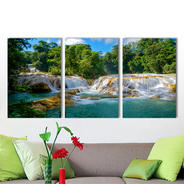 Hd Canvas Art Landscape Painting Aua Azul Waterfall Chiapaa Home Decoration Wall Pictures For Living Room