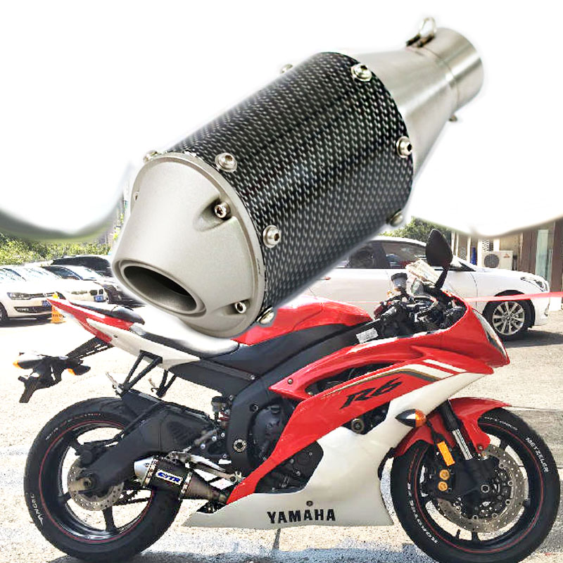 Universal 51mm Motorcycle Exhaust Scooter Exhaust Muffler GY6 FOR YAMAHA R1 R3 R6 FZ6 ATV Pit bike Fish Style Exhaust AK176 51mm universal modified motorcycle scooter exhaust pipe muffler for yamaha mt09 mt 09 03 01 tmax 500 530 r1 r3 r6 fz6 fjr v max