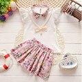 BibiCola лето baby girl одежда Топ + dress 2 шт. спорт костюм набор новорожденных девочек одежда набор малышей цветочные установленные одежды костюм