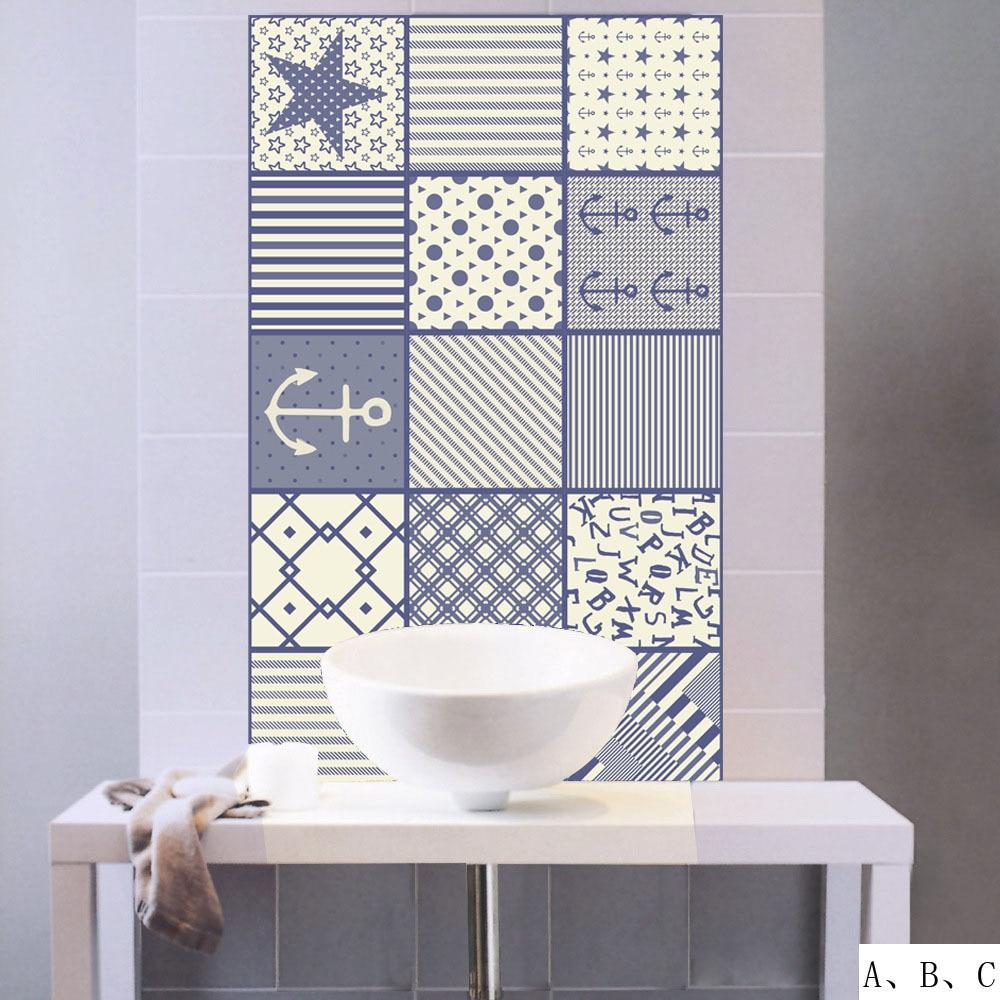 New 3D Mediterranean Style Tile Wall Stickers Kitchen Bathroom Waist ...