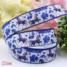 165311,(7/8″)22mm 10yard/lot Aimal Horse Ribbons Thermal transfer Printed grosgrain Wedding Accessories DIY handmade material