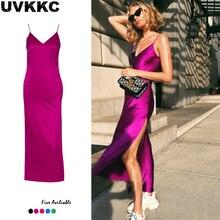 Uvkkc Sexy Dress Split Sleeveless Strap V Neck Backless Women Party Long Dresses 2019 Summer Female Vestido Solid Festa
