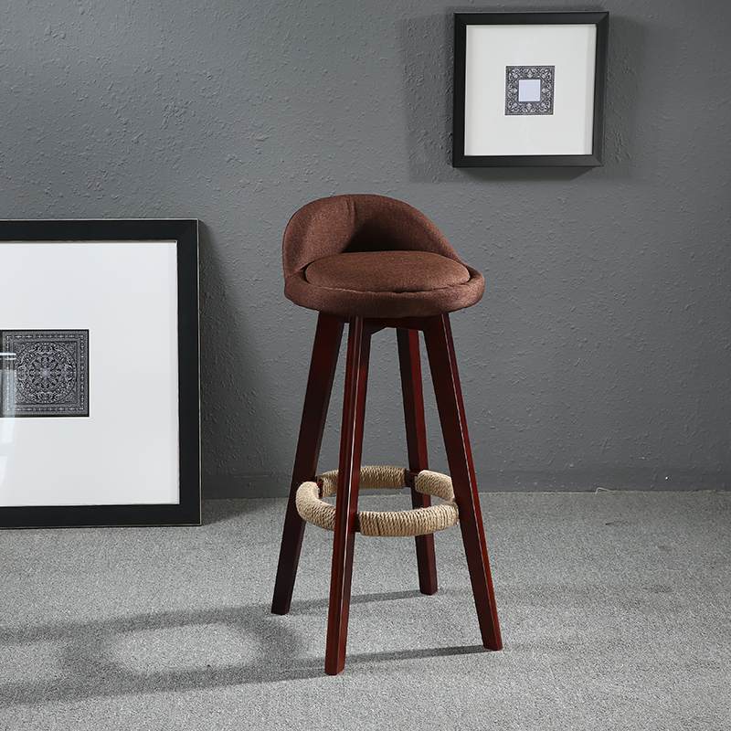 Seat Height 70cm Swivel Bar Chair Fabric Upholstered Seat/Back Mahogany Finish Vintage Cafe Kitchen Bar Furniture Chair Stool