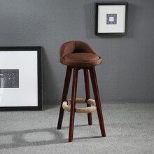 Высота сиденья 70 см поворотный стул барный Ткань мягкое сиденье/Назад Махогани отделка Винтаж Cafe Кухня Мебель для баров стул