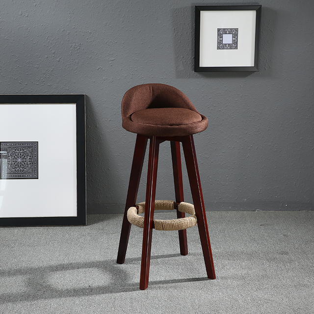 Seat Height 70cm Swivel Bar Chair Fabric Upholstered Back Mahogany Finish Vintage Cafe Kitchen