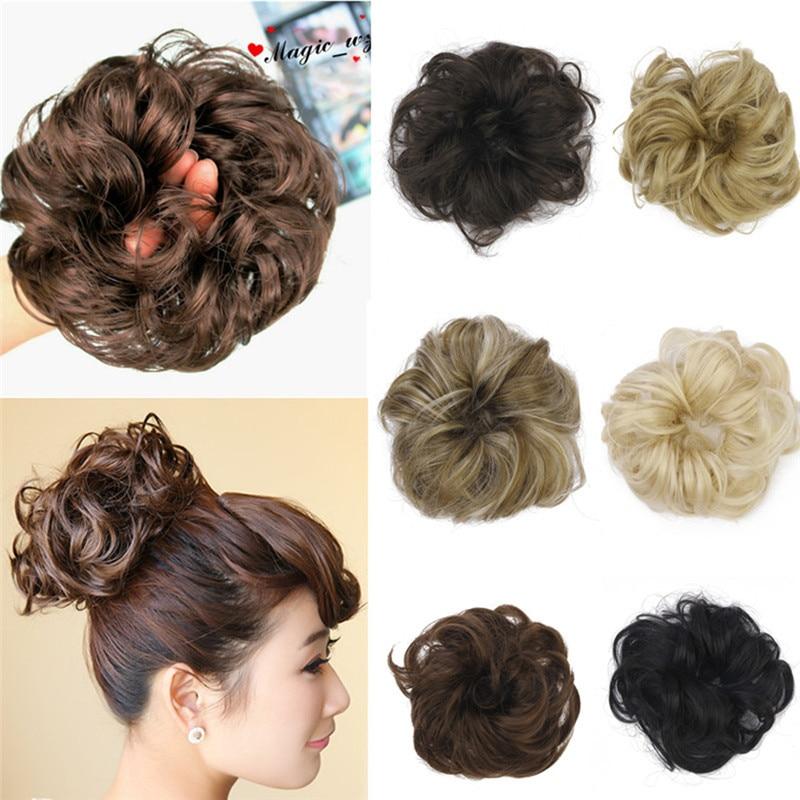 1pc Hair Chignon Elastic Hair Rope Synthetic Hair Bun Extension