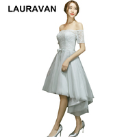 short dress at front long at back high low lace up back prom ladies birthday party dresses short sleeve womens modest gown