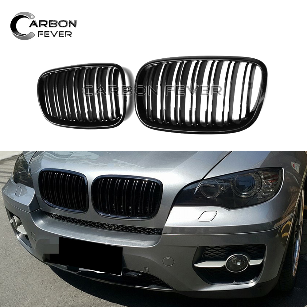 Double Line Racing Grill E70 E71 Grille for BMW X5 X6 SUV 4 Door Grills 2