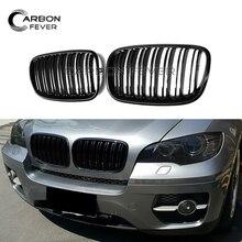 Двойной линией гоночный автомобиль гриль E70 E71 решетка для BMW X5 X6 SUV 4 двери решетки 2-планка ABS черный глянец Цвет стайлинга автомобилей 2008-2014